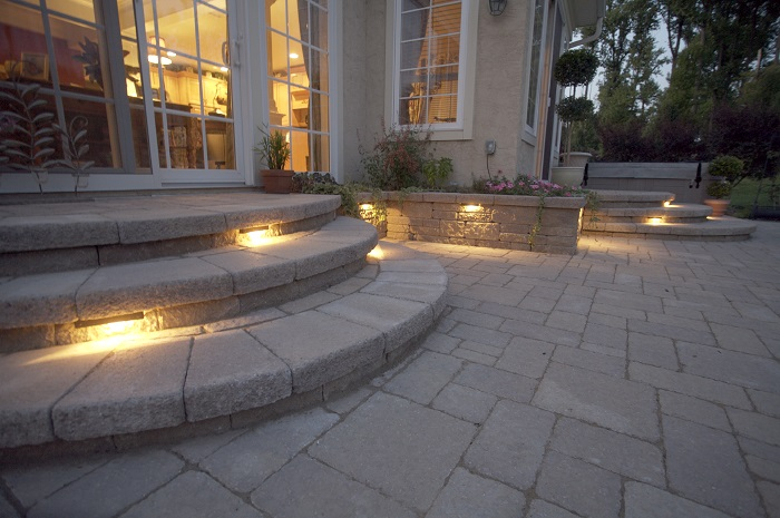 Step and wall accent patio lighting